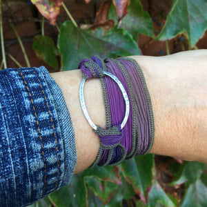 Riverstone Wrap Bracelet ~ Oxidized