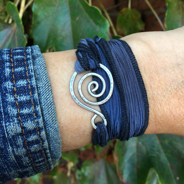 Swirly Wrap Bracelet ~ Oxidized