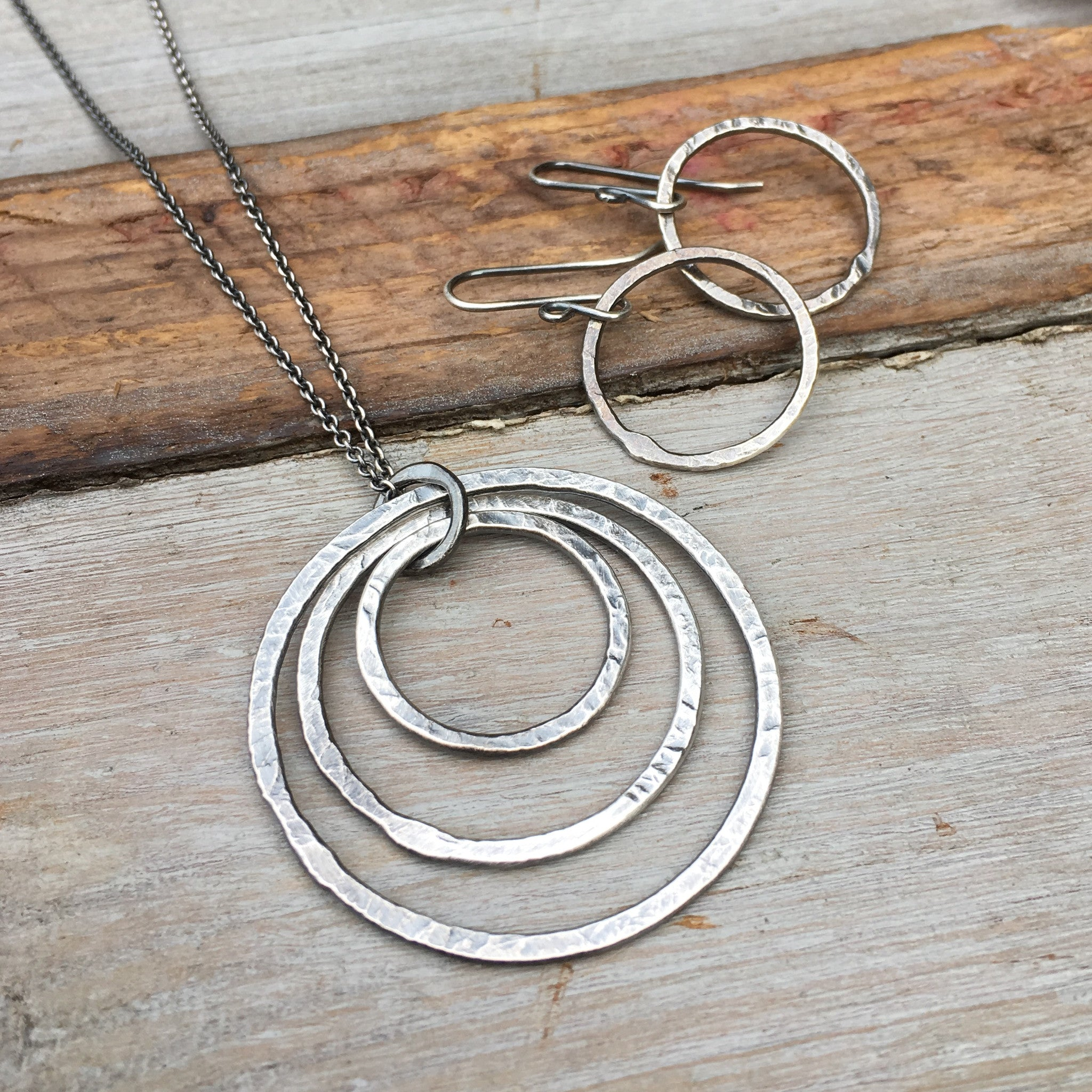 circle necklace triple silver designs sterling pendant silverhaven jewellery halo