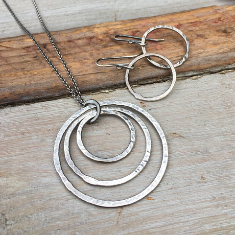 Triple Circle Necklace ~ Oxidized