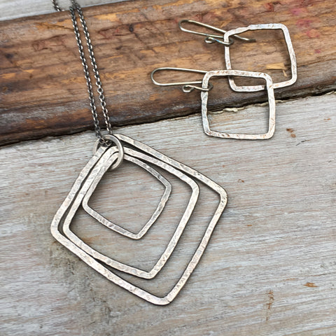 Triple Square Necklace ~ Oxidized