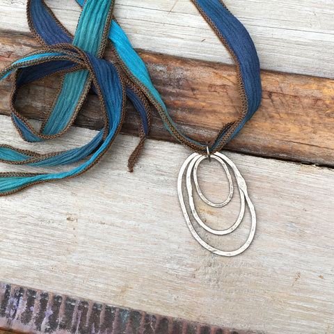 Triple Riverstone Necklace ~ Oxidized