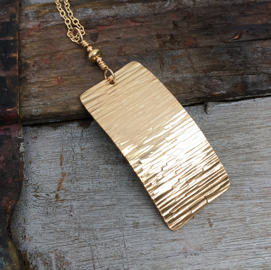 Tree Bark Necklace ~ Goldfilled