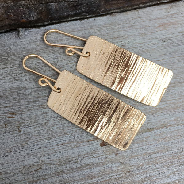 Tree Bark Earrings ~ Goldfilled