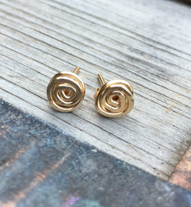Swirly Post Earrings ~ Goldfilled