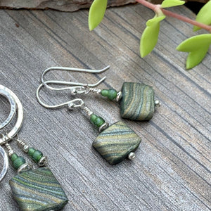Marbled Green Earrings