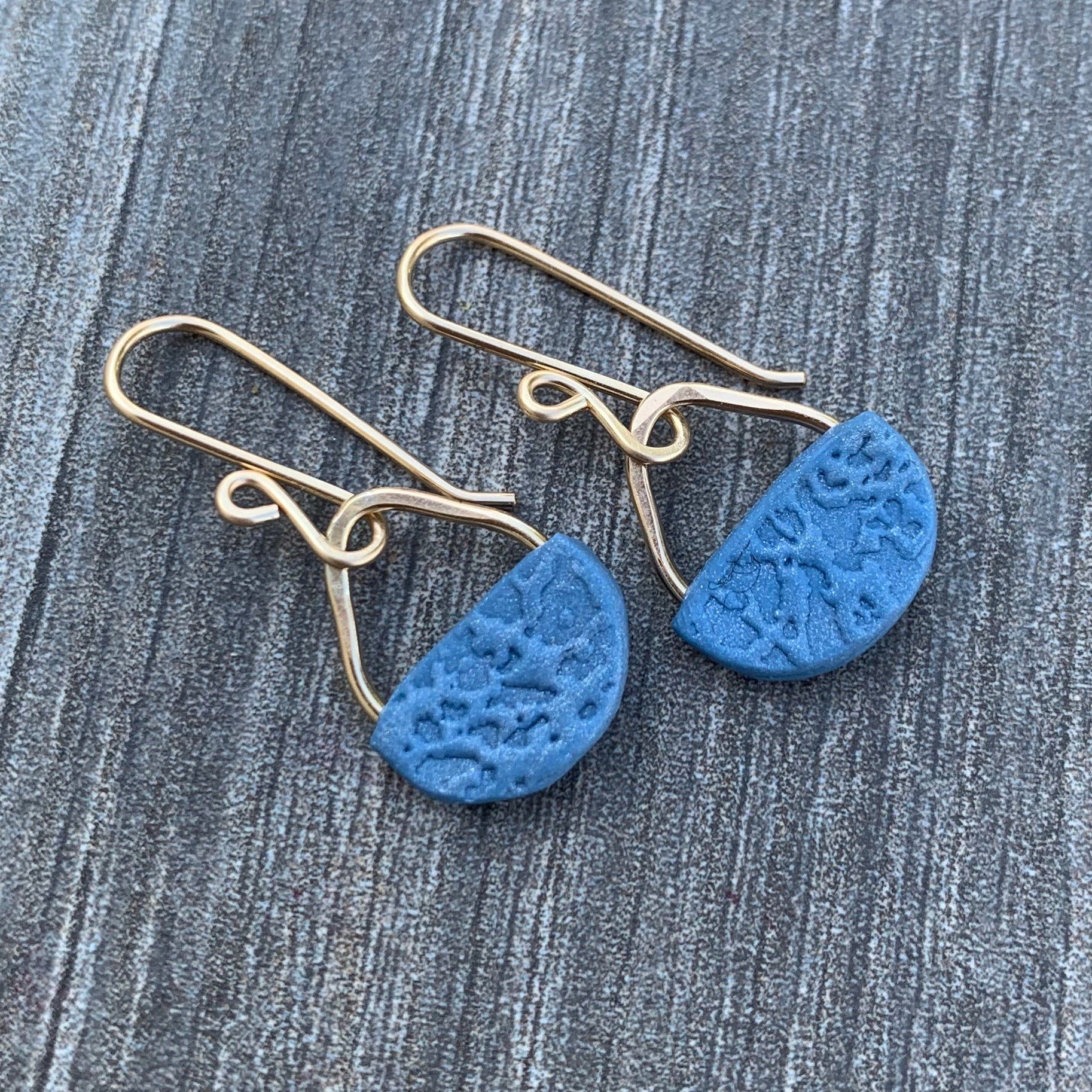 Basket Earrings ~ Blue Goldfilled