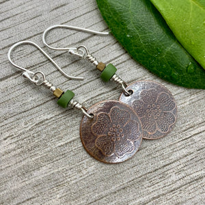 Sweet Posie Earrings ~ Copper