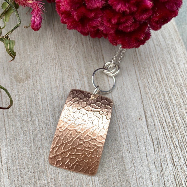 Sea Fan Necklace ~ Rose Goldfilled & Sterling Silver