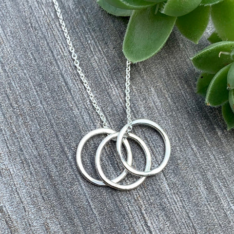 Tiny Trio Circles Necklace