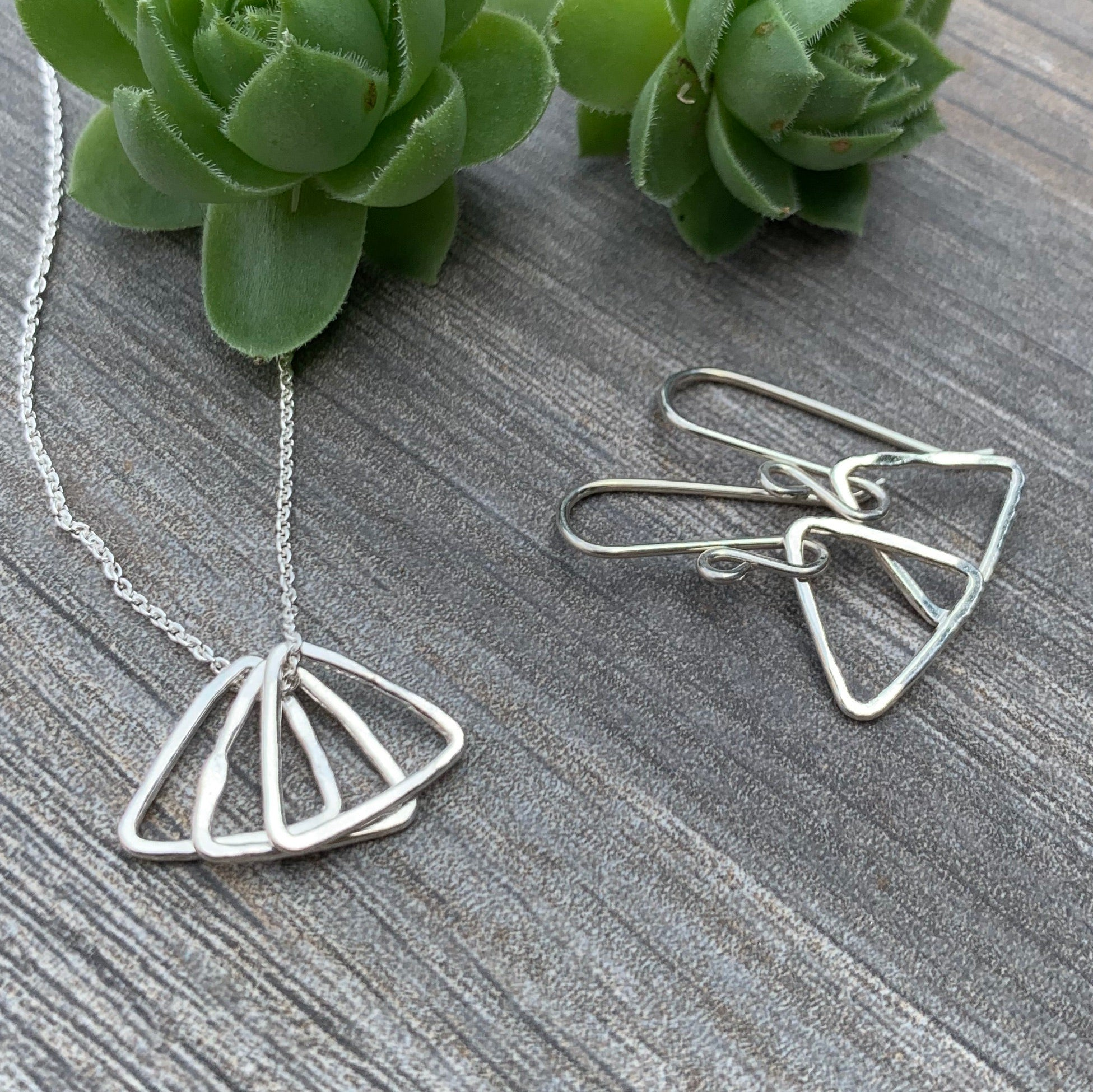 Tiny Trio Triangles Necklace