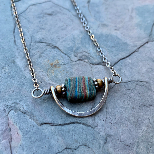 Gypsy Swirl Crescent Necklace