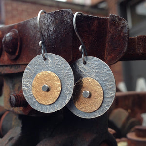 Two Tone Rivet Earrings ~ Oxidized