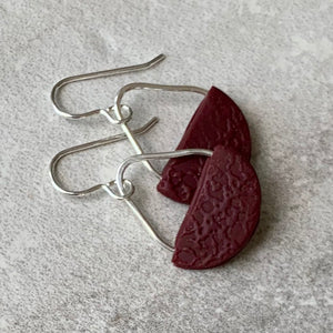 Basket Earrings ~ Maroon
