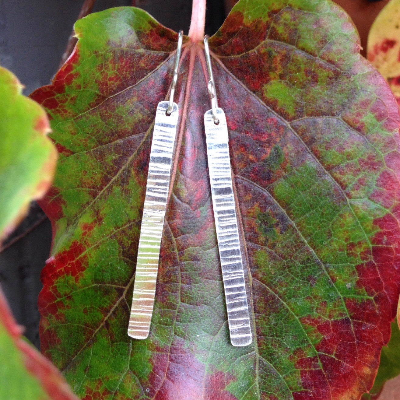 Tree Bark Stick Earrings ~ Shiny