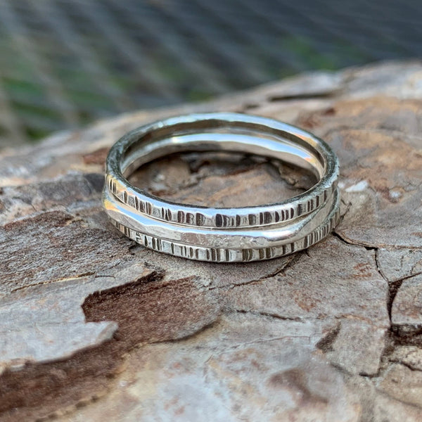 Tree Bark Stack Rings ~ Oxidized