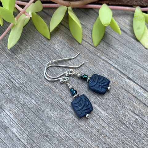 Navy Bead Earrings