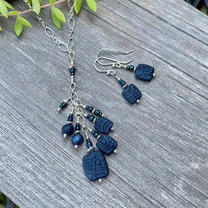 Cluster Necklace ~ Navy