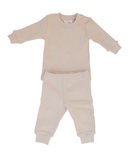 Load image into Gallery viewer, Mebie Baby – Cream Ribbed Two Piece Cozy Set