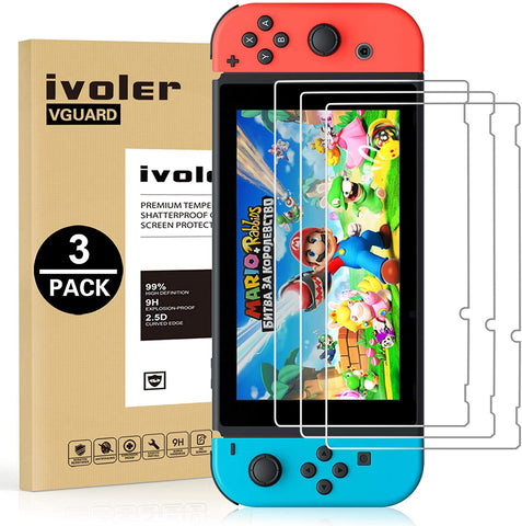 [3 Pack] Screen Protector Tempered Glass for Nintendo Switch - iVoler