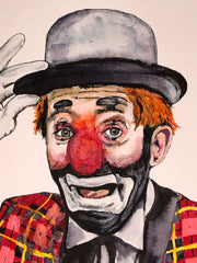 "HAND DRAWN Original Watercolor ""Blinky"" featuring Denver Icon Blinky The Clown! Available in 9x11, 11x14, 20x30 and 24X36 Prints as well!!"