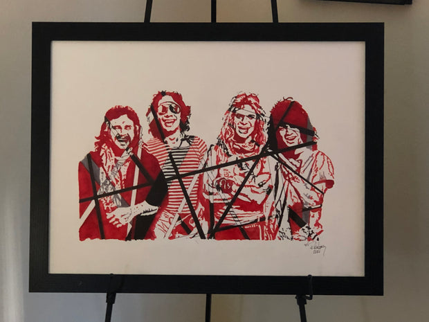 "HAND DRAWN 18"" X 24"" Original Watercolor ""Van Halen""! Available in 9x11, 11x14, 20x30 and 24X36 Prints as well!!"