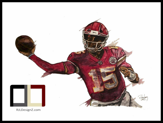 "HAND DRAWN 18"" X 24"" Original Watercolor ""Mahomes""! Available in 9x11, 11x14, 20x30 and 24X36 Prints as well!!"