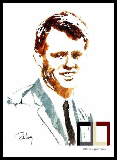 "HAND DRAWN Original Watercolor 18"" x 24"" art ""Bobby"" featuring Robert F. Kennedy by Rick Long. Available in 9x11, 11x14, 20x30 and 24X36 Prints as well!!"