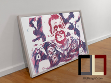"Load image into Gallery viewer, HAND DRAWN Original Watercolor ""JJ-99"" featuring JJ Watt! Available in 9x11, 11x14, 20x30 and 24X36 Prints as well!!"