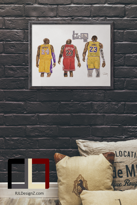 "HAND DRAWN Original Watercolor ""Tres Cabras"" featuring Kobe, MJ and LeBron! Available in 9x11, 11x14, 20x30 and 24X36 Prints as well!!"