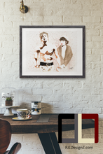 "Load image into Gallery viewer, HAND DRAWN Original Watercolor ""The Balboa's"" Rocky & Adrian Available in 9x11, 11x14, 20x30 and 24X36 Prints as well!!"