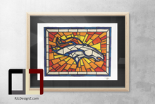 "Load image into Gallery viewer, HAND DRAWN 18"" X 24"" Original Watercolor ""Broncos Glass""! Available in 9x11, 11x14, 20x30 and 24X36 Prints as well!!"