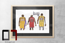 "Load image into Gallery viewer, HAND DRAWN Original Watercolor ""Tres Cabras"" featuring Kobe, MJ and LeBron! Available in 9x11, 11x14, 20x30 and 24X36 Prints as well!!"