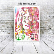 "HAND DRAWN Original Watercolor art ""Lennon-Shaved"" Available in 9x11, 11x14, 20x30 and 24X36 Prints as well!!"