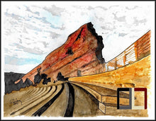 "Load image into Gallery viewer, HAND DRAWN Original Watercolor art ""ROW-69"" featuring Red Rocks Amphitheater!! Available in 9x11, 11x14, 20x30 and 24X36 Prints as well!!"