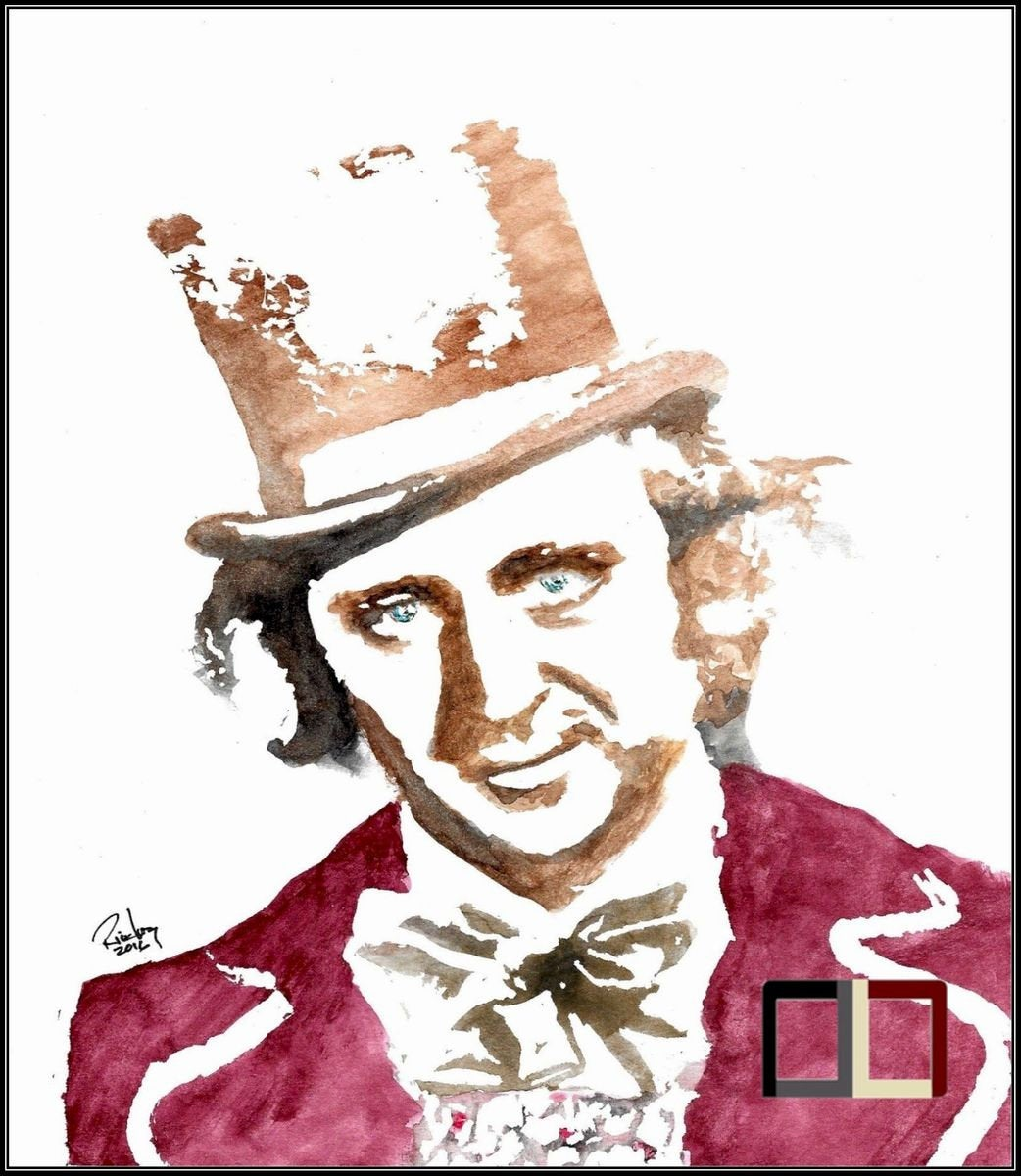HAND DRAWN Original Watercolor artwork of Gene Wilder as Willy Wonka! Available in 9x11, 11x14, 20x30 and 24X36 Prints as well!!
