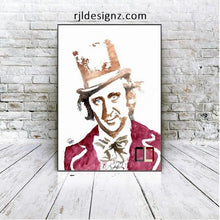 Load image into Gallery viewer, HAND DRAWN Original Watercolor artwork of Gene Wilder as Willy Wonka! Available in 9x11, 11x14, 20x30 and 24X36 Prints as well!!