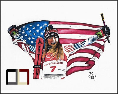 "HAND DRAWN Original Watercolor 18"" X 24"" art ""Au"" featuring Mikaela Shiffrin! Available in 9x11, 11x14, 20x30 and 24X36 Prints as well!!"