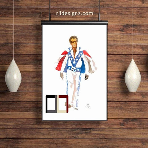 "HAND DRAWN Original Watercolor 18"" x 24"" portrait ""Evel"" featuring Evel Knievel! Available in 9x11, 11x14, 20x30 and 24X36 Prints as well!!"