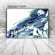 "Load image into Gallery viewer, HAND DRAWN Original Watercolor art ""Miles In Blue"" featuring Miles Davis!! Available in 9x11, 11x14, 20x30 and 24X36 Prints as well!!"