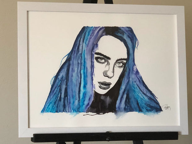 "HAND DRAWN Original Watercolor art ""Ocean Eyes"" featuring Billie Eilish! Available in 9x11, 11x14, 20x30 and 24X36 Prints as well!!"