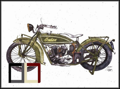 "HAND DRAWN Original Watercolor 18"" X 24"" artwork ""1925 Indian Scout""! Available in 9x11, 11x14, 20x30 and 24X36 Prints as well!!"