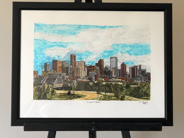 "HAND DRAWN Original Watercolor 18"" X 24"" in ""I Love You, Denver!"" by Rick Long!! Available in 9x11, 11x14, 20x30 and 24X36 Prints as well!!"