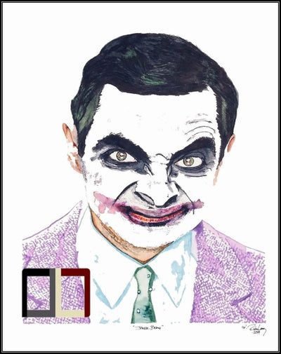 "HAND DRAWN Original Watercolor 18"" X 24"" art ""Joker Bean"" featuring Mr. Bean! Available in 9x11, 11x14, 20x30 and 24X36 Prints as well!!"