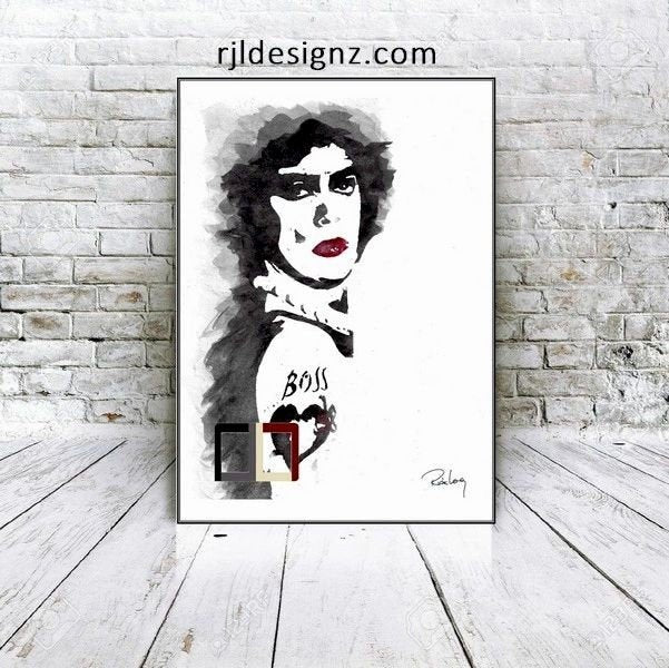 "HAND DRAWN Original Watercolor art ""Antici-"" featuring Tim Curry!! Available in 9x11, 11x14, 20x30 and 24X36 Prints as well!!"