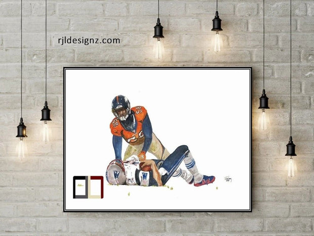 "HAND DRAWN Original Watercolor art ""GOATSmack"" featuring Von Miller. Available in 9x11, 11x14, 20x30 and 24X36 Prints as well!!"