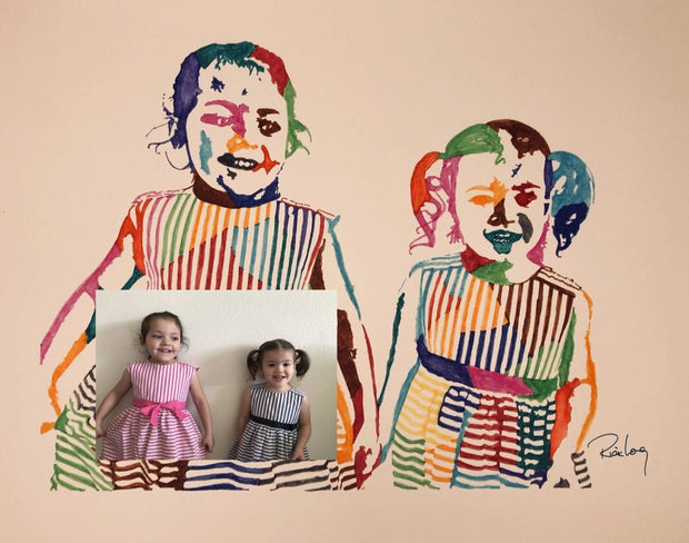 Original HAND DRAWN Custom Watercolor Portrait! Multiple Sizes! Great Gift Idea!