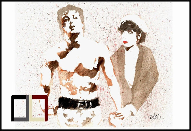 "HAND DRAWN Original Watercolor ""The Balboa's"" Rocky & Adrian Available in 9x11, 11x14, 20x30 and 24X36 Prints as well!!"