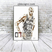 "HAND DRAWN Original Watercolor art ""21"" featuring Tim Duncan!! Available in 9x11, 11x14, 20x30 and 24X36 Prints as well!!"