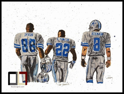 HAND DRAWN Original Watercolor Triplets featuring Aikman, Irvin & Smith of the Dallas Cowboys!  Available in 9x11, 11x14, 20x30 and 24X36 Prints as well!!